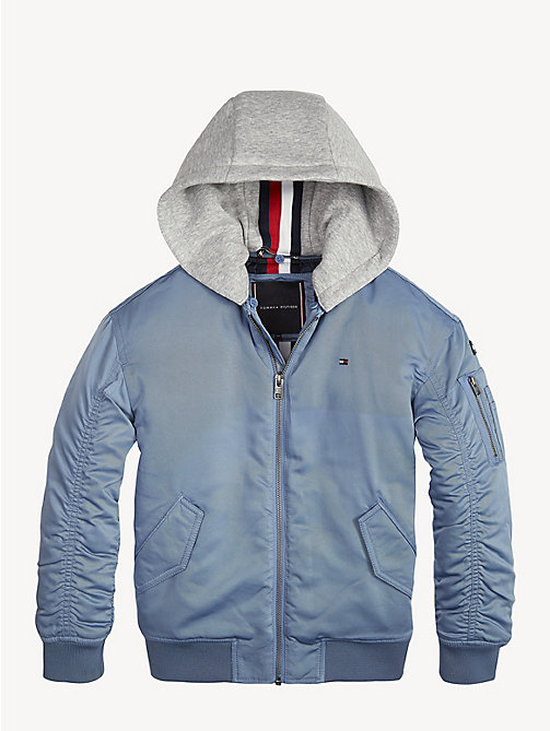 TOMMY HILFIGER Hooded Bomber Jacket - CORONET BLUE - TOMMY HILFIGER Coats & Jackets - main image