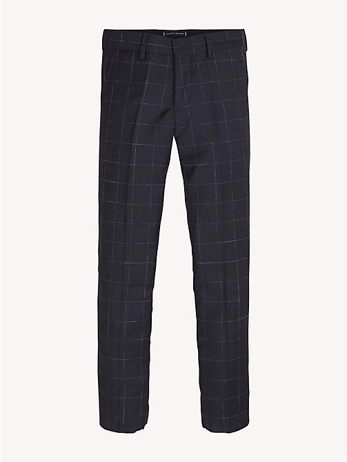 TOMMY HILFIGER Virgin Wool Check Trousers - MIDNIGHT BLUE - TOMMY HILFIGER Trousers & Shorts - main image