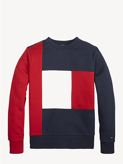 TOMMY HILFIGER Colour-Blocked Flag Sweatshirt - LYCHEE - TOMMY HILFIGER Sweatshirts & Hoodies - detail image 1