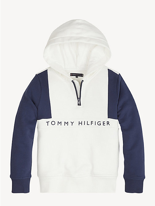 TOMMY HILFIGER Colour-Blocked Hoody - BRIGHT WHITE / BLACK IRIS - TOMMY HILFIGER Sweatshirts & Hoodies - main image