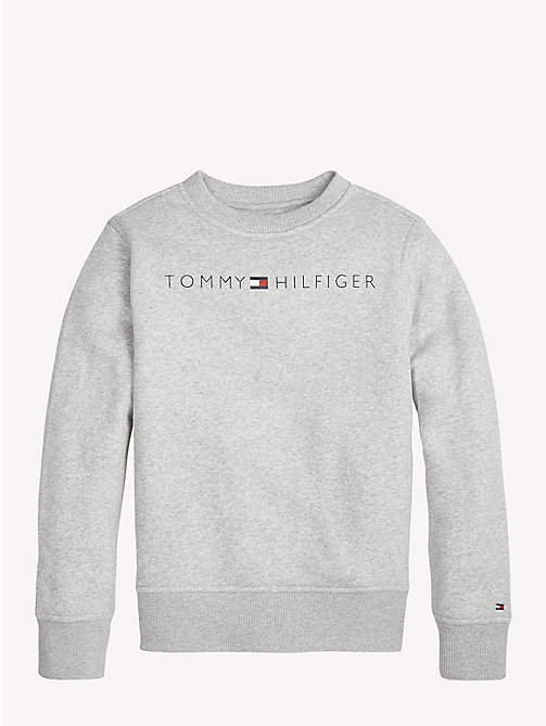 TOMMY HILFIGER Felpa in cotone con logo Essential - GREY HEATHER - TOMMY HILFIGER Felpe - immagine principale