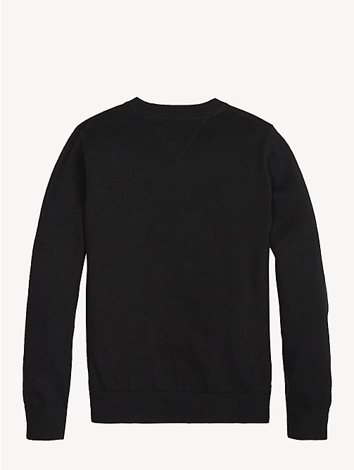 TOMMY HILFIGER Organic Cotton V-Neck Jumper - TOMMY BLACK - TOMMY HILFIGER Knitwear - detail image 1
