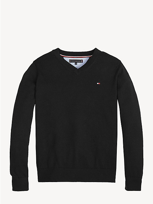 TOMMY HILFIGER Organic Cotton V-Neck Jumper - TOMMY BLACK - TOMMY HILFIGER Knitwear - main image