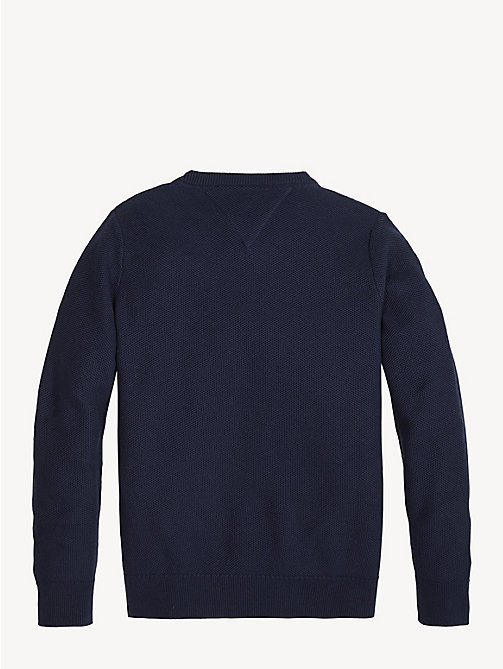 TOMMY HILFIGER Essential Combed Cotton Jumper - BLACK IRIS - TOMMY HILFIGER Knitwear - detail image 1