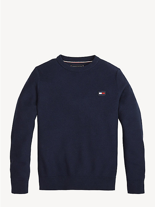 TOMMY HILFIGER Essential Combed Cotton Jumper - BLACK IRIS - TOMMY HILFIGER Knitwear - main image