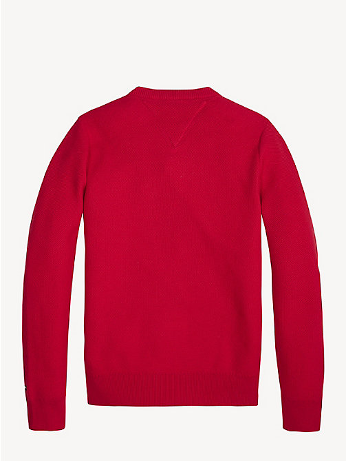 TOMMY HILFIGER Essential Combed Cotton Jumper - LYCHEE - TOMMY HILFIGER Knitwear - detail image 1