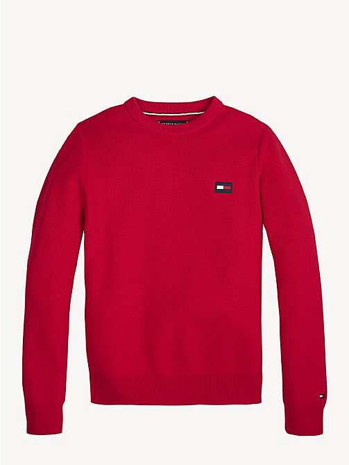TOMMY HILFIGER Essential Combed Cotton Jumper - LYCHEE - TOMMY HILFIGER Knitwear - main image