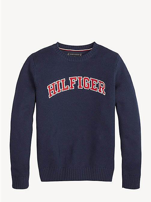 TOMMY HILFIGER Essential Pullover mit Applikation - BLACK IRIS - TOMMY HILFIGER Pullover & Strickjacken - main image
