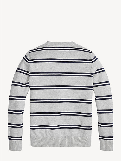 TOMMY HILFIGER Stripe Cotton Crew Neck Jumper - GREY HEATHER/MULTI - TOMMY HILFIGER Knitwear - detail image 1