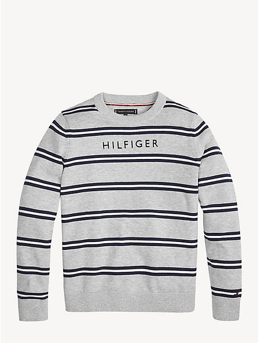 TOMMY HILFIGER Stripe Cotton Crew Neck Jumper - GREY HEATHER/MULTI - TOMMY HILFIGER Knitwear - main image