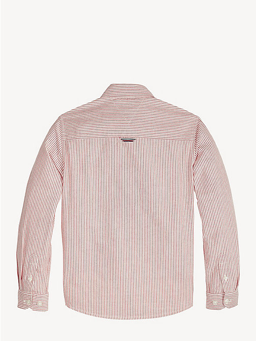 TOMMY HILFIGER Stripe Cotton Oxford Shirt - LYCHEE/BRIGHT WHITE - TOMMY HILFIGER Shirts - detail image 1