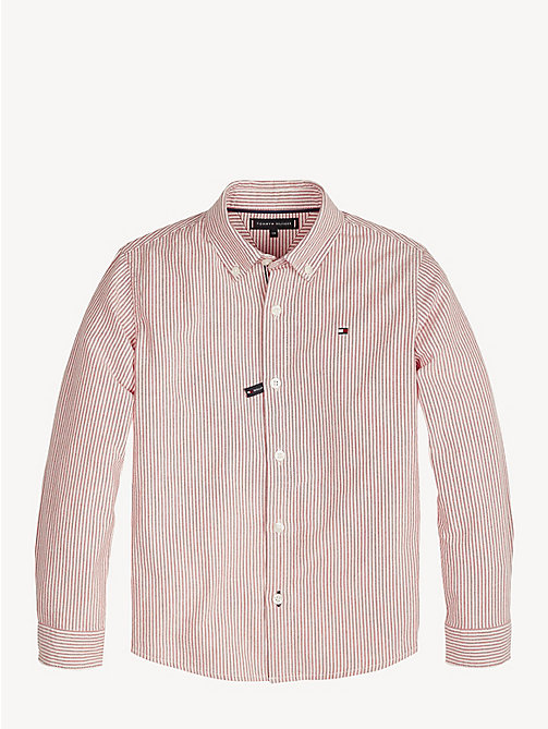 TOMMY HILFIGER Stripe Cotton Oxford Shirt - LYCHEE/BRIGHT WHITE - TOMMY HILFIGER Shirts - main image