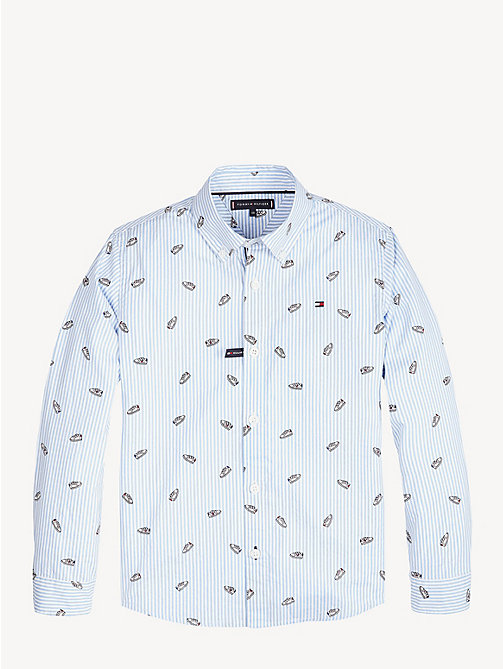 TOMMY HILFIGER Shoe Print Cotton Shirt - BRIGHT WHITE / MULTI - TOMMY HILFIGER Shirts - detail image 1