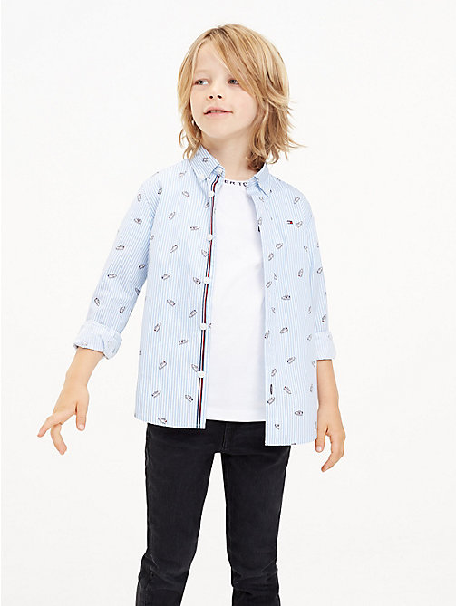 TOMMY HILFIGER Shoe Print Cotton Shirt - BRIGHT WHITE / MULTI - TOMMY HILFIGER Shirts - main image