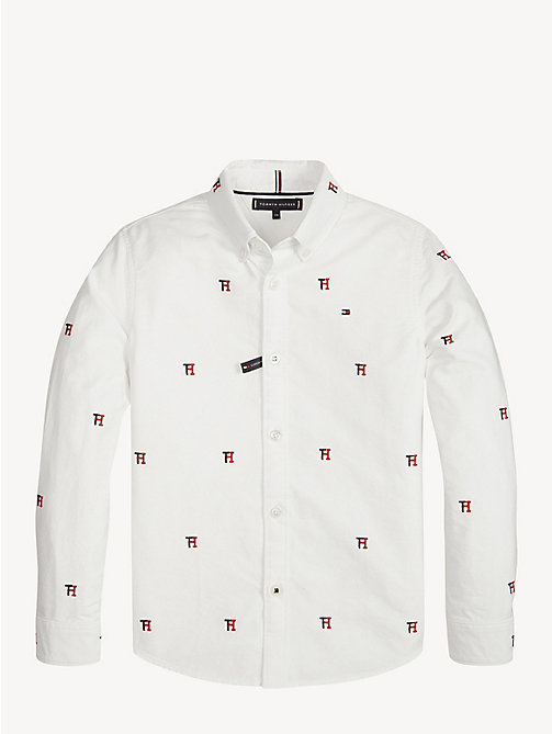 TOMMY HILFIGER Pure Cotton Monogram Oxford Shirt - BRIGHT WHITE / MULTI - TOMMY HILFIGER Shirts - detail image 1