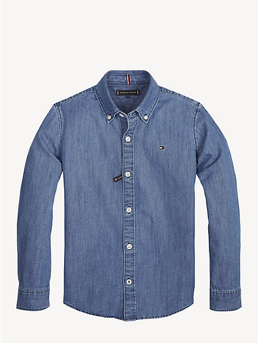 TOMMY HILFIGER Long Sleeve Denim Shirt - MID BLUE - TOMMY HILFIGER Shirts - main image