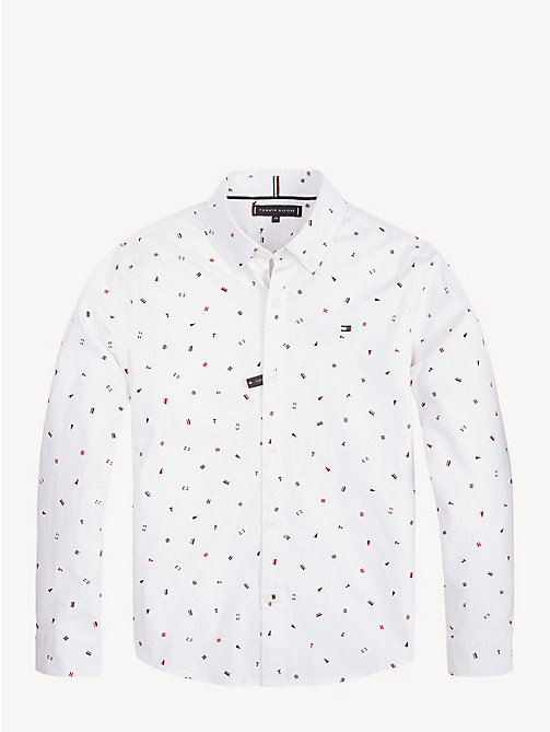 TOMMY HILFIGER All-over Flag Print Shirt - BRIGHT WHITE - TOMMY HILFIGER Shirts - detail image 1