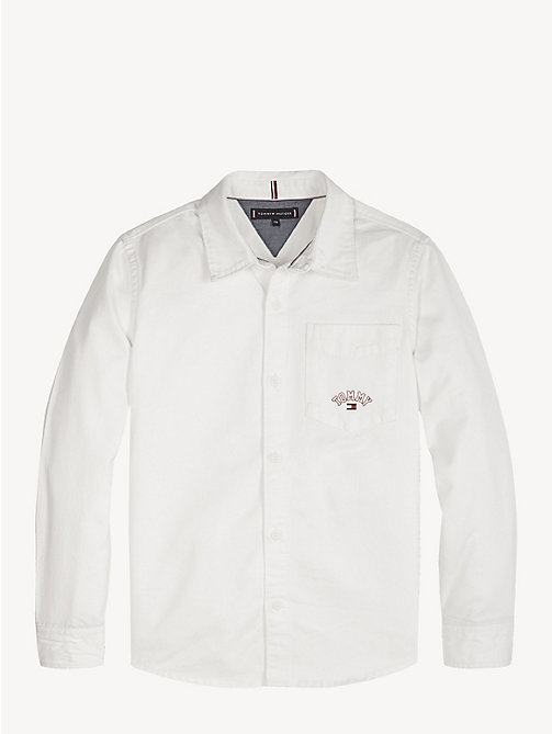 TOMMY HILFIGER Logo Pocket Twill Shirt - CLASSIC WHITE - TOMMY HILFIGER Shirts - main image