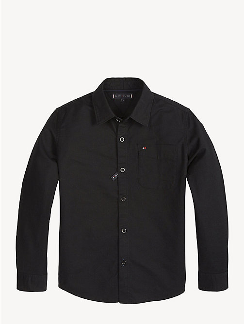 TOMMY HILFIGER Metal Button Oxford Shirt - TOMMY BLACK - TOMMY HILFIGER Shirts - main image