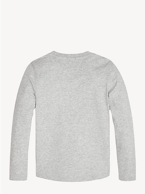 TOMMY HILFIGER Long Sleeve Logo T-Shirt - GREY HEATHER - TOMMY HILFIGER T-shirts & Polos - detail image 1
