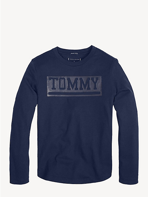 TOMMY HILFIGER Organic Cotton Long Sleeve T-Shirt - BLACK IRIS - TOMMY HILFIGER Sustainable Evolution - main image