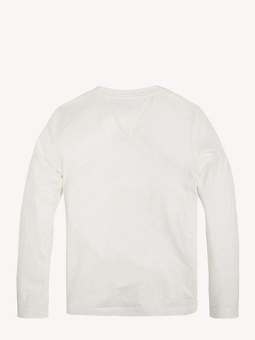 TOMMY HILFIGER Organic Cotton Long Sleeve T-Shirt - BRIGHT WHITE - TOMMY HILFIGER T-shirts & Polos - detail image 1