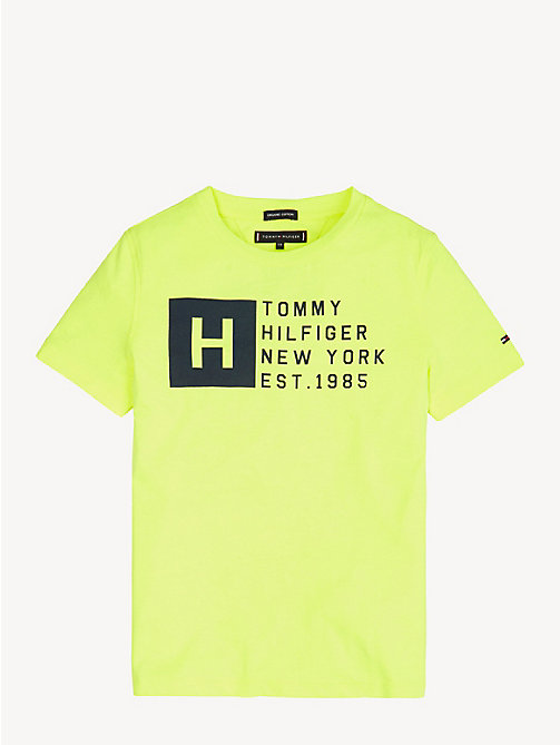TOMMY HILFIGER Bawełniany t-shirt z logo - SAFETY YELLOW - TOMMY HILFIGER T-shirty i Koszulki polo - main image