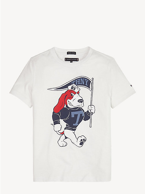 TOMMY HILFIGER Jersey T-shirt met mascotteprint - BRIGHT WHITE - TOMMY HILFIGER T-shirts & Polo's - main image