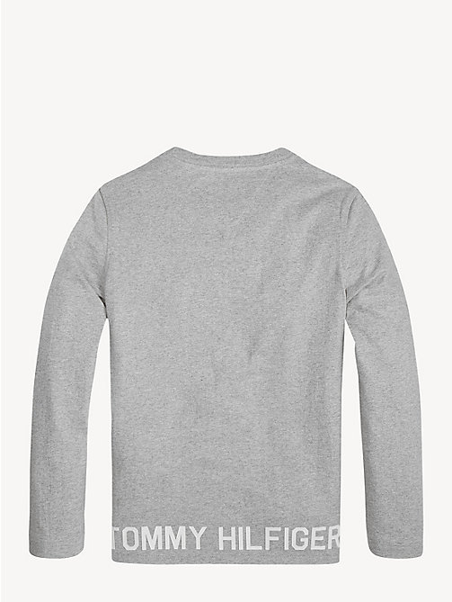 TOMMY HILFIGER Logo Hem Long Sleeve T-Shirt - GREY HEATHER - TOMMY HILFIGER T-shirts & Polos - detail image 1