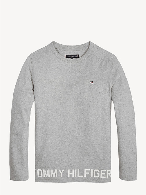 TOMMY HILFIGER Logo Hem Long Sleeve T-Shirt - GREY HEATHER - TOMMY HILFIGER T-shirts & Polos - main image