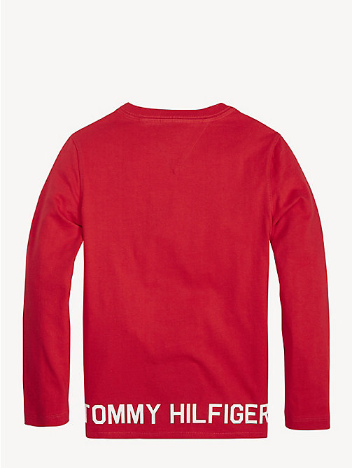 TOMMY HILFIGER Logo Hem Long Sleeve T-Shirt - LYCHEE - TOMMY HILFIGER T-shirts & Polos - detail image 1