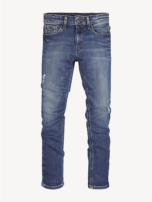 TOMMY HILFIGER Distressed Tapered Fit Jeans - CRESTON BLUE DESTRUCT STRETCH - TOMMY HILFIGER Jeans - main image