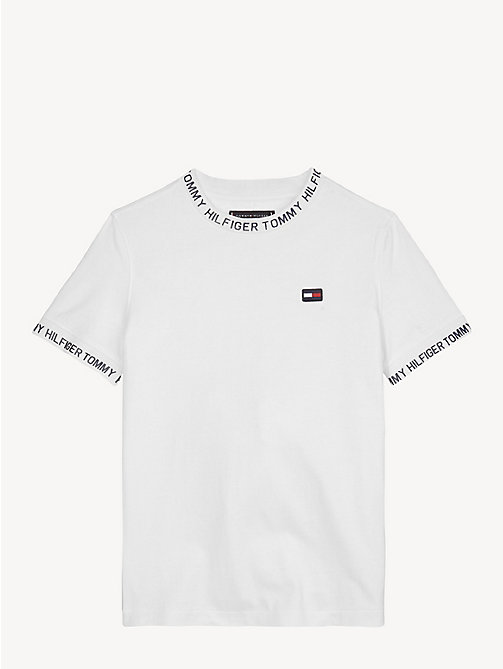 TOMMY HILFIGER Katoenen T-shirt met logotape - BRIGHT WHITE - TOMMY HILFIGER T-shirts & Polo's - main image
