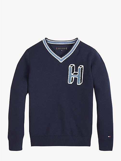 TOMMY HILFIGER Pure CottonV-Neck Jumper - BLACK IRIS - TOMMY HILFIGER Knitwear - detail image 1