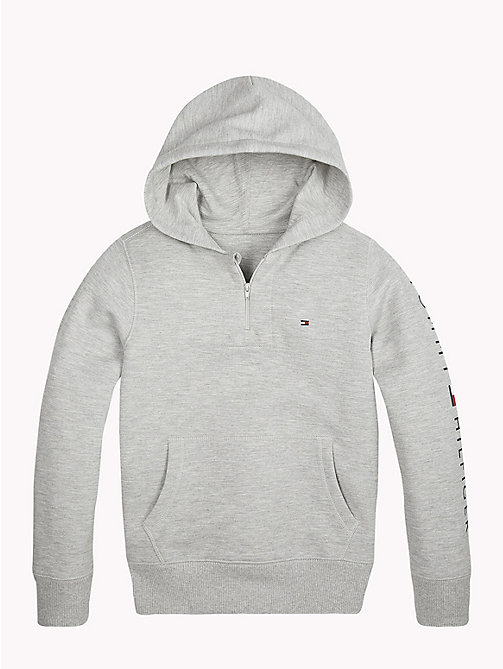 TOMMY HILFIGER Zip Neck Logo Hoody - GREY HEATHER - TOMMY HILFIGER Sports Capsule - detail image 1