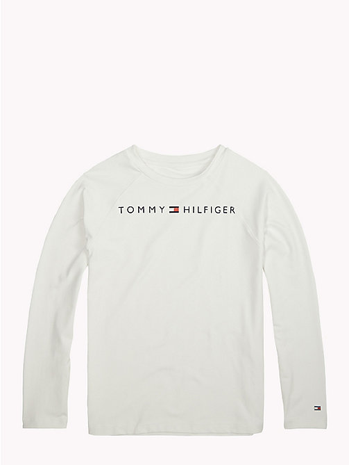 TOMMY HILFIGER Long-Sleeve Crew Neck Logo T-Shirt - BRIGHT WHITE - TOMMY HILFIGER Sports Capsule - main image