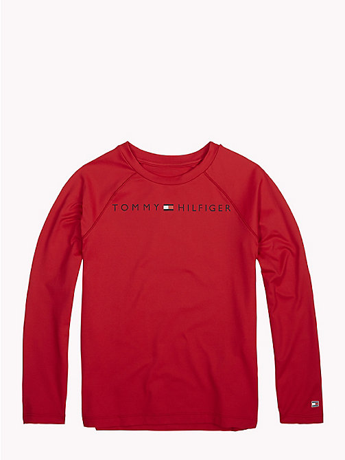 TOMMY HILFIGER Long-Sleeve Crew Neck Logo T-Shirt - APPLE RED - TOMMY HILFIGER Sports Capsule - main image