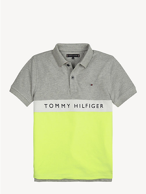 TOMMY HILFIGER Colour-Blocked Logo Polo Shirt - GREY HEATHER - TOMMY HILFIGER T-shirts & Polos - main image
