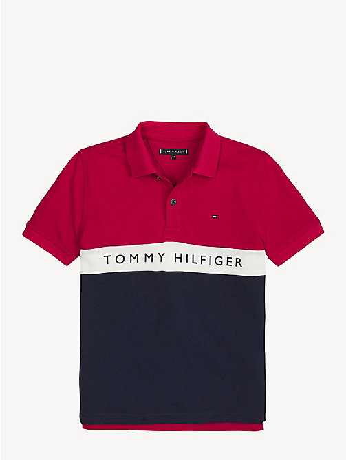 TOMMY HILFIGER Colour-Blocked Logo Polo Shirt - LYCHEE - TOMMY HILFIGER T-shirts & Polos - main image