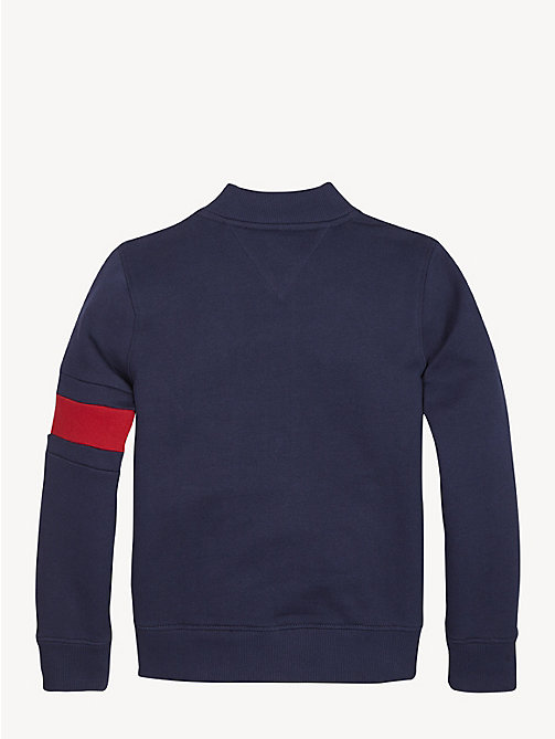 TOMMY HILFIGER Flag Detail Zip-Up Sweatshirt - BLACK IRIS - TOMMY HILFIGER Sweatshirts & Hoodies - detail image 1