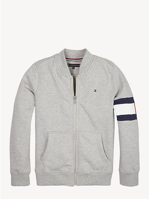 TOMMY HILFIGER Flag Detail Zip-Up Sweatshirt - GREY HEATHER - TOMMY HILFIGER Sweatshirts & Hoodies - main image