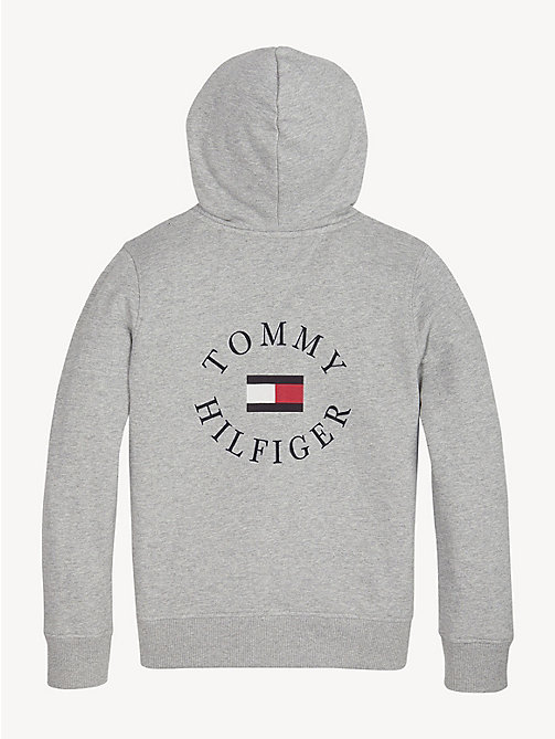 TOMMY HILFIGER Logo Back Zip-Thru Hoody - GREY HEATHER - TOMMY HILFIGER Sweatshirts & Hoodies - detail image 1