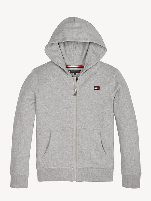 TOMMY HILFIGER Logo Back Zip-Thru Hoody - GREY HEATHER - TOMMY HILFIGER Sweatshirts & Hoodies - main image