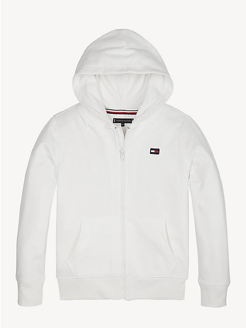 TOMMY HILFIGER Logo Back Zip-Thru Hoody - BRIGHT WHITE - TOMMY HILFIGER Sweatshirts & Hoodies - main image
