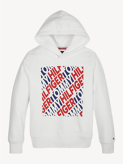TOMMY HILFIGER Graphic Repeat Logo Cotton Hoody - BRIGHT WHITE - TOMMY HILFIGER Sweatshirts & Hoodies - main image