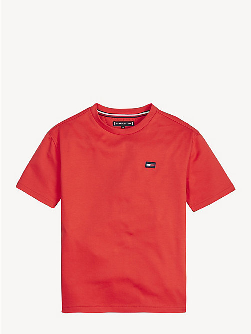 TOMMY HILFIGER Crew Neck Back Logo T-Shirt - FLAME SCARLET - TOMMY HILFIGER T-shirts & Polos - main image