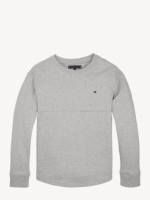 TOMMY HILFIGER Long Sleeve Crew Neck T-Shirt - GREY HEATHER - TOMMY HILFIGER T-shirts & Polos - main image