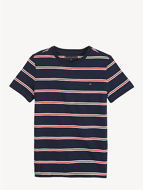 TOMMY HILFIGER Pure Cotton Stripe T-Shirt - BLACK IRIS - TOMMY HILFIGER T-shirts & Polos - main image