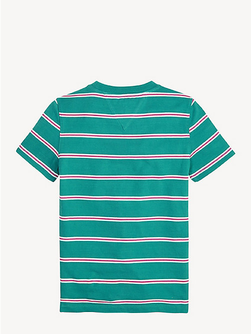 TOMMY HILFIGER Pure Cotton Stripe T-Shirt - DYNASTY GREEN - TOMMY HILFIGER T-shirts & Polos - detail image 1