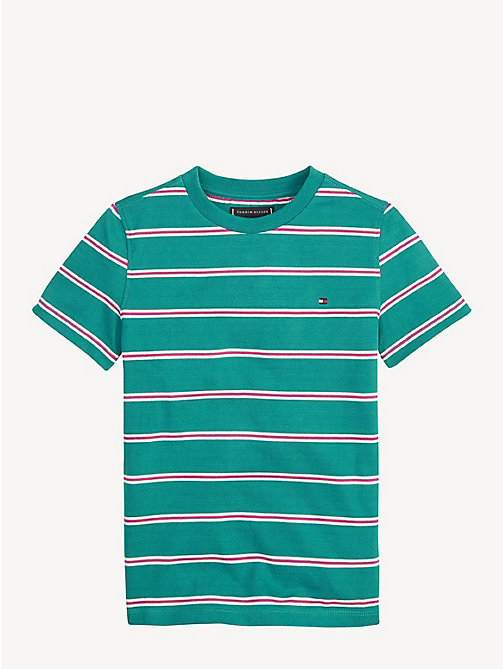 TOMMY HILFIGER Pure Cotton Stripe T-Shirt - DYNASTY GREEN - TOMMY HILFIGER T-shirts & Polos - main image